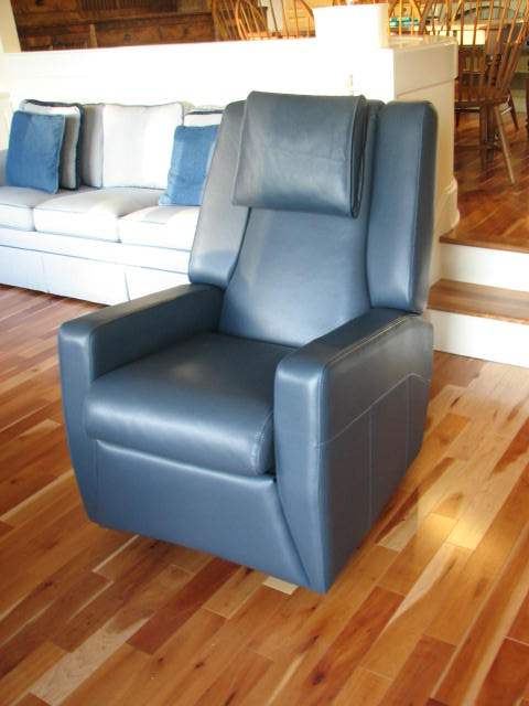 Blue Leather Rocker Recliner