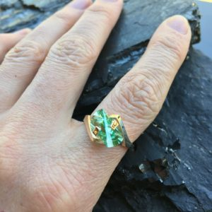 Strellman's Green Spinel Lighthouse Ring