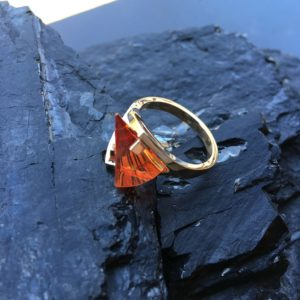 Padparadschah Lighthouse Lens Cut Ring by Strellman's Fine Dramatic Jewelry
