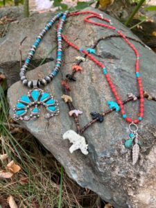 Assortment of necklaces by Indigenous jewelers