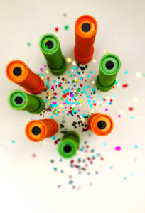 During Best of Stowe 2021, you can learn how to make your own paper kaleidoscope, like these orange and green ones.