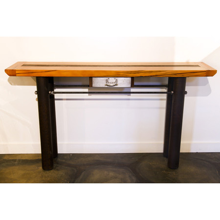Wood And Pipe Sofa Table